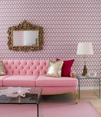 Interior Decoration : Pink Living Room With Long Pink Tufted Sofa And  Rectangle Clear Acrylic Coffee Table Also Cone White Modern Table Lamp On  Clear ...