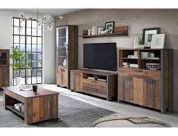 Wohnzimmer Cedric 31 Vintage Braun 5 Teilig Vitrine Highboard TV Board 1 ...