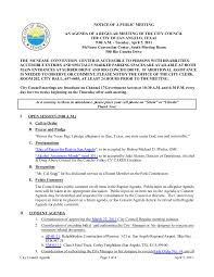 Mcnease Convention Center Seating Chart City Council April 5 2011 Agenda Packet