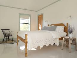 example of a country painted wood floor and white floor bedroom design in new york with