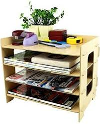 desk office file document paper. Clobeau Wooden Diy 4 Tier Creative Desktop File Rack Paper Document Magazine Holder Sorter Office Home Desk