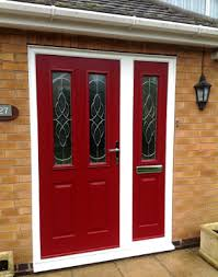 composite door with glass side panels