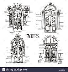 hand drawn ilration of diffe old doors sketch style vine doors unique and beautiful door collection on the white ba