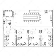 floor plan furniture vector. Modern Office Interior With Furniture. Vector Floor Plan Blueprint. Architectural Background. \u2014 Stock Furniture U