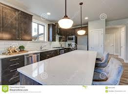 New Kitchen Boasts Dark Wood Cabinets Large Island Stock Image