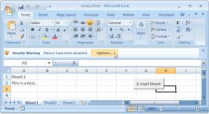 excel spread sheet ms excel 2007 email the active worksheet
