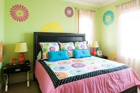 minimalist teenage girl bedroom in fresh lime green wall paint with outstanding flower pattern on wall adorable blue paint colors