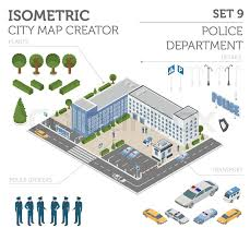 Design Your Own Office Custom Flat 48d Isometric Police Department And City Map Constructor