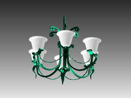 3d model of green metal chandelier light fixture available 3d object format 3ds 3d studio max 3ds max scanline render dwg autocad drawing