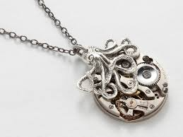 steampunk octopus necklace antique silver watch movement gears silver brass pendant jewelry