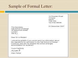 formal handwritten letter format presentation on formal letter