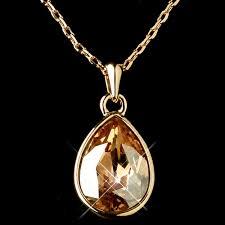 gold light topaz swarovski crystal element teardrop pendant necklace 9602