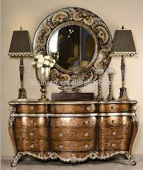 hall console cabinet. Retro Hand Painted Console Cabinet With Mirror, Elegant Gilding Chest Of Drawers, Vintage Home Hall L