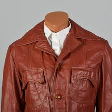 medium 1970s mens red brown leather jacket vtg patch pocket decorative pin tucks