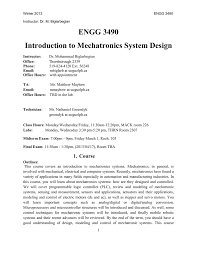 Design Of Mechatronics System Notes Engg 3490 Introduction To Mechatronics System Design