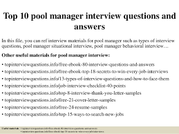 Resume Questions Simple Top 40 Pool Manager Interview Questions And Answers