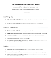 House Sitting Checklist The Ultimate House Sitting Due Diligence Checklist Nomadic