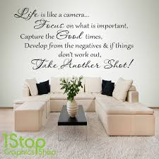 1 stop graphics shop on quote wall art uk with life is like a camera wall sticker quote bedroom home wall art
