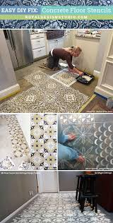 easy diy fix painted floor makeover remodeling using concrete floor stencils from royal design
