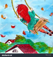 Painted Sky Designs Swings Watercolor Painted Girl On Swing On Stock Illustration
