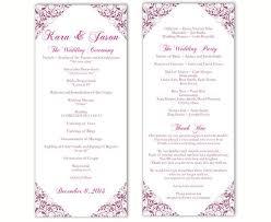Printable Wedding Program Templates Wedding Program Template Diy Editable Word File Instant Download