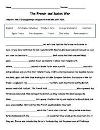best french n war lesson plans images  use this cloze reading worksheet after learning about the french and n war as a review