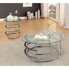 glass and chrome coffee table sets