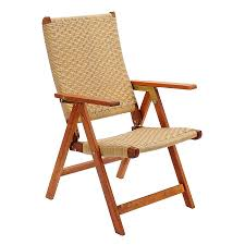 achla designs folding eucalyptus conversation chair with woven seat
