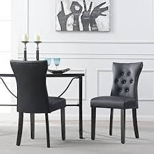 belleze dining faux leather tufted accent living room nailhead on side chairs set of 2