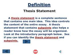 definition essay thesis statement examples the thesis statement grammar ccc commnet edu