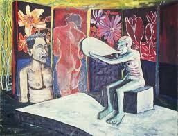 the image below is a painting of mine from 1989 the funeral oil on canvas well before i ever saw a neo rauch painting