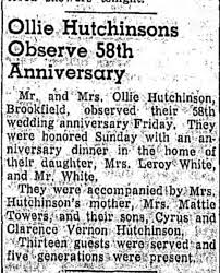 Ollie Hutchinson (daughter of Mattie Bruce, granddaughter of Sandy Bruce)  58th wedding anniversary - Newspapers.com