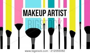 makeup artist template business card colorful striped background with fashion silhouette of black makeup brushes