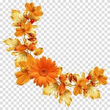 Flower Paper Clips Flower Orange Paper Floral Boarder Transparent Background