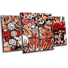 >urban art graffiti style in red and black large 4 piece wall art  image is loading urban art graffiti style in red and black