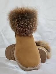 nwob ugg australia mini fox ankle boots chestnut merino sheepskin evasol sz9