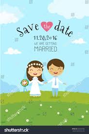 Cartoon Wedding Invitation Cards Designs Wedding Invitation Card Template Cartoon Design Stock Vector