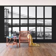 Vlies Poszter Tapéta Fenster Brücken New York Fotótapéta