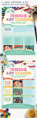 junior art trial class flyer template ceramics paper junior art trial class template academy advance art blue brush