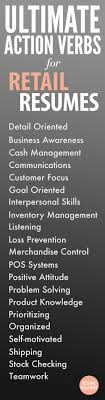 Ultimate Action Verbs For Retail Resumes Resume Tips Pinterest