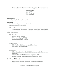Resume For No Work Experience High School Skills For A Resume With No Work Experience