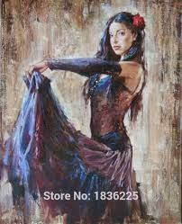 spanish flamenco r painting latina woman oil painting on canvas hight quality hand painted painting latina with 426 67 piece on crystalstory s