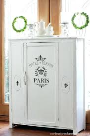 armoire glass doors antique cabinet makeover in pure white chalk paint from confessions of a serial
