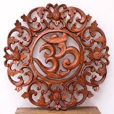 Glossy finished floor bamboo wall. Omkara Balinese Wood Panel Hand Carved For Wall Decoration Bali