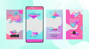 Mobile Stories Bright Vector Templates For Social Media Marketing