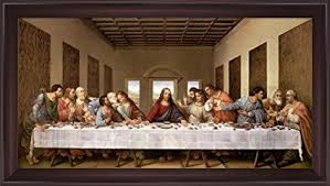 the last supper by leonardo da vinci framed art print wall picture wide cherry frame on large last supper wall art with amazon the last supper by leonardo da vinci framed art print