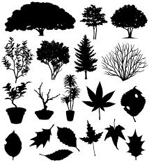 木のシルエット素材集木の葉イラストのフリーダウンロード素材