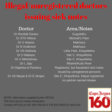 Fake Doctors Note South Africa Illegal Doctors Issuing Bogus Sick Notes Named And Shamed