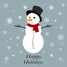 Holidays Snowman Snowman With Happy Holidays Tag On A Grey Background Royalty Free