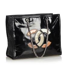 chanel patent leather lipstick tote bag 1 thumbnail